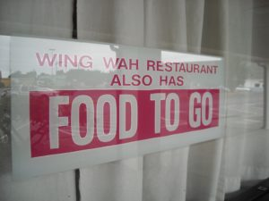 (AmE) food to go